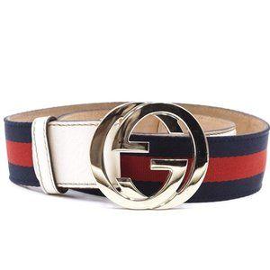 Gucci Gg Logo Stripe Gold Buckle 1.5 Width Belt